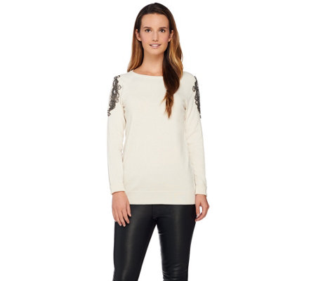 Susan Graver Artisan Embellished Cold Shoulder Sweater