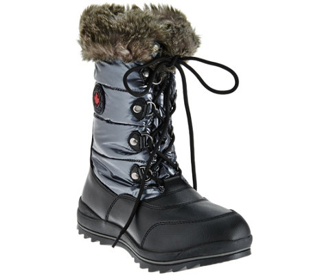 Cougar Waterproof Lace-up Snow Boots w/ Faux Fur - Cranbrook ...