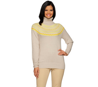 Liz Claiborne New York Fair Isle Turtleneck Sweater - A270822
