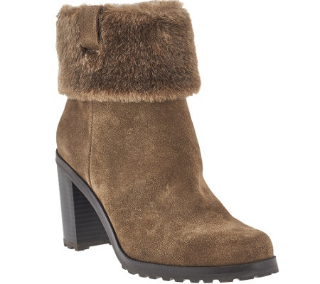 H by Halston Leather Stacked Heel Ankle Boots with Faux Fur - Cindy