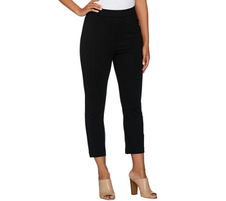 Shape FX Ponte Knit Pull-On Slim Leg Crop Pants