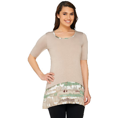 """As Is"" LOGO by Lori Goldstein Petite Knit Top with Printed Trim"