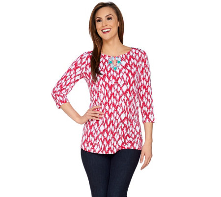 Susan Graver Artisan Printed Liquid Knit 3/4 Sleeve Top w/Embellishment