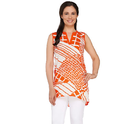 """As Is"" Susan Graver Printed Feather Weave Sleeveless Tunic"