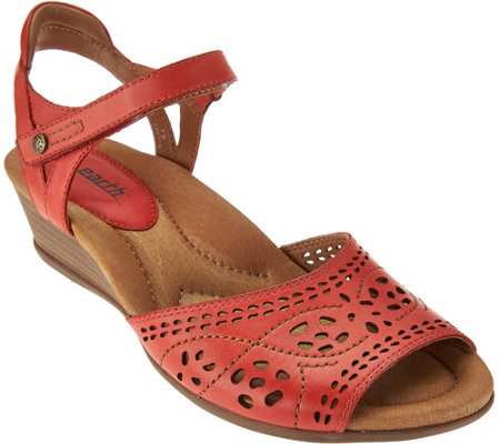 Earth Leather Perforated Sandals with Adj. Ankle Strap - Ibis