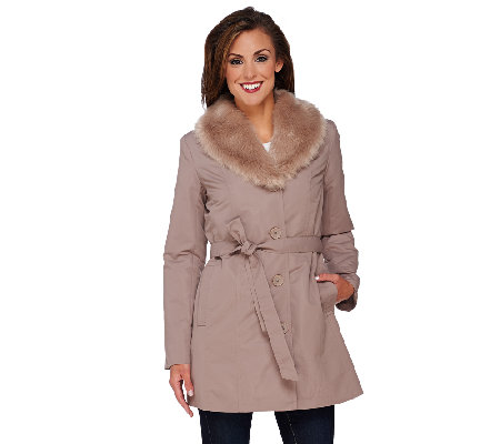 """As Is"" Dennis Basso Coat with Removable Faux Fur Collar and Liner"