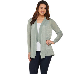 Joan Rivers Drape Front Cardigan with Crochet Lace Back - A276322