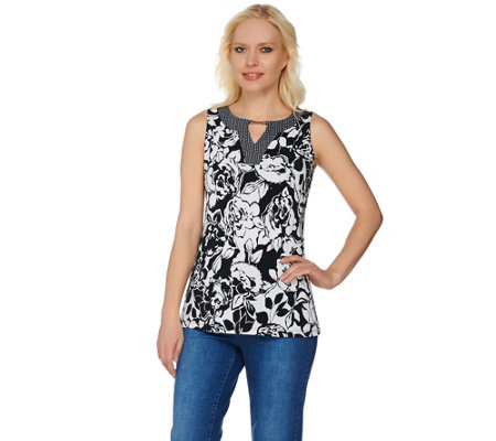 Susan Graver Printed Liquid Knit Sleeveless Top w/ Keyhole Trim