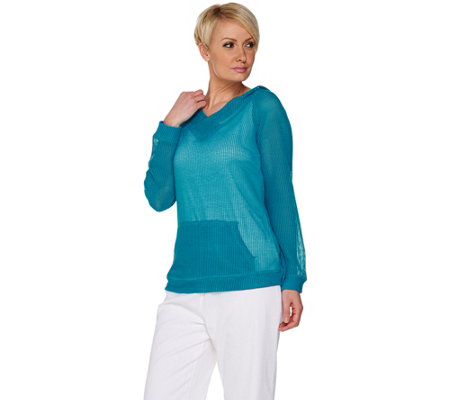 Denim & Co. Beach Long Sleeve Mesh Top with Hood & Pockets