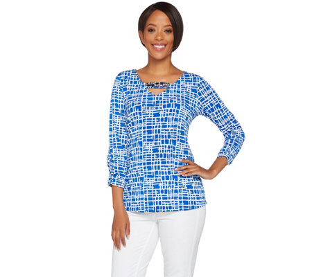 Susan Graver Artisan Printed Liquid Knit Embellished Top