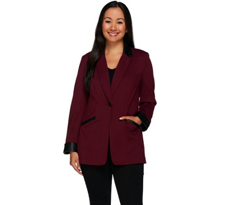 """As Is"" Susan Graver Ponte Jacket with Faux Leather Trim Petite"