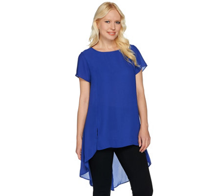 H by Halston Sheer Short Sleeve Hi-Low Hem Tunic