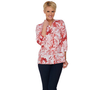 Denim & Co. Soft Texture Printed Y-neck 3/4 Sleeve Blouse - A279022