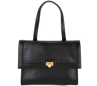 H by Halston Smooth Leather Satchel with Reptile Embossed Flap - A279822