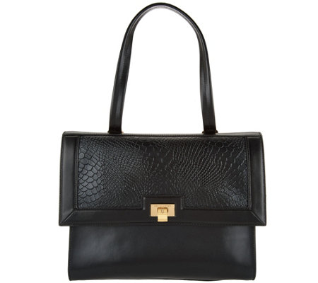 H by Halston Smooth Leather Satchel with Reptile Embossed Flap