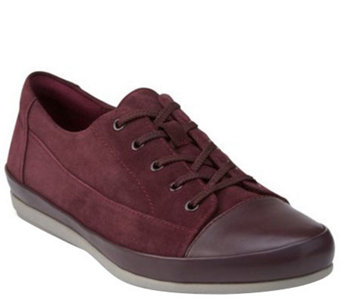 """As Is"" Clarks Leather Lace-up Sneakers - Lorry Grace - A280522"