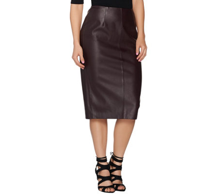 g i l i faux leather midi pencil skirt page 1 qvc