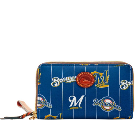 Dooney & Bourke MLB Nylon Brewers Zip Around Phone Wristlet