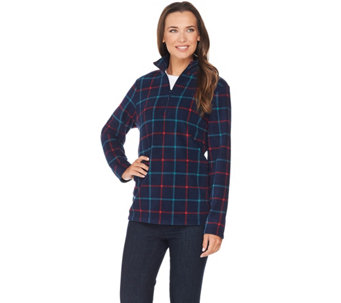 Denim & Co. Active Half Zip Long Sleeve Fleece Top - A282422