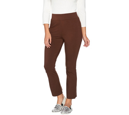 LOGO by Lori Goldstein Cropped Boot-Cut Knit Pants
