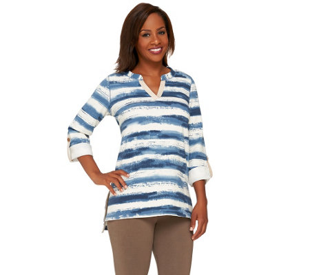 """As Is"" Susan Graver Weekend Striped French Terry Split Neck Top"