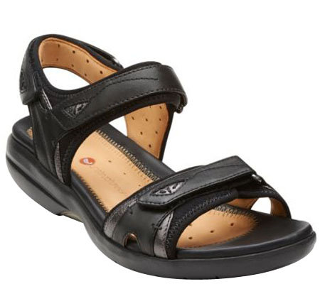"""As Is"" Clarks Unstructed Adj. Straps Sport Sandals - Un. Harbor"