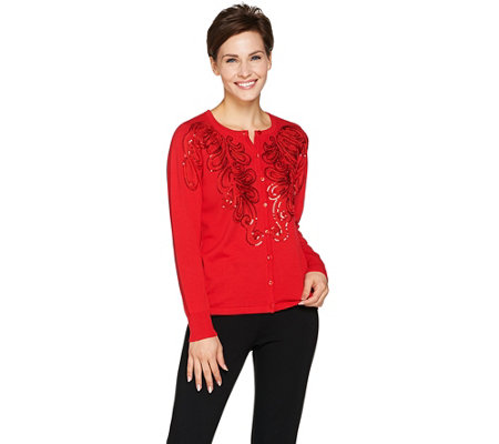 Bob Mackie's Soutache and Sequin Sweater Knit Cardigan