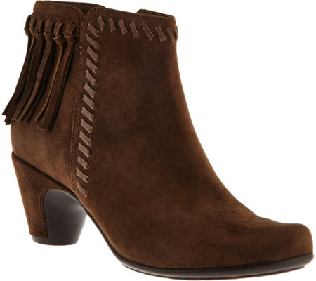 Earthies Suede Ankle Boots with Fringe - Zurich