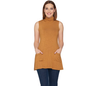 LOGO by Lori Goldstein Slub Knit Mock Neck Tank w/ Side Slits - A284922