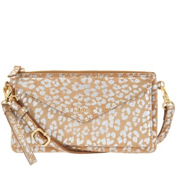 LODIS Leather RFID Envelope Pouch with Crossbody Strap