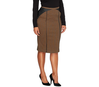 """As Is"" Edge by Jen Rade Knit Houndstooth Pencil Skirt - A285922"