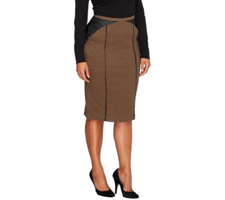 """As Is"" Edge by Jen Rade Knit Houndstooth Pencil Skirt"