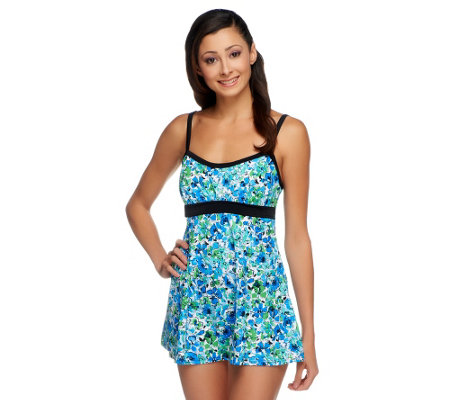 """As Is"" Fit 4 U Thighs Airbrush Floral Banded Empire Swim Dress"