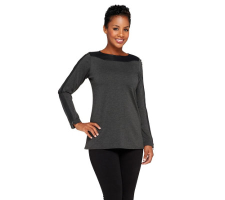 """As Is"" SA by Seth Aaron Knit Top with Sleeve Zipper Detail"