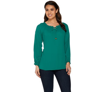 """As Is"" Susan Graver Feather Weave Peasant Top with Cold Shoulder - A287822"