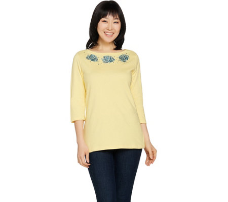 Quacker Factory Under the Boardwalk Bateau Neck Knit T-Shirt
