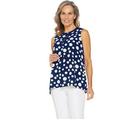 Susan Graver Printed Stretch Woven Sleeveless Top