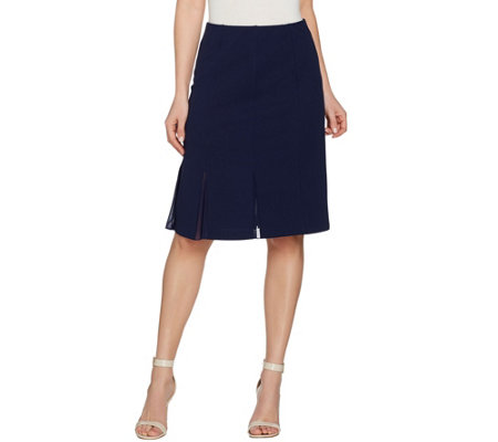 Dennis Basso Caviar Crepe Pull-On Knit Skirt with Mesh Godets