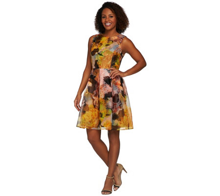 """As Is"" Isaac Mizrahi Live! Special Edition Photoreal Floral Dress"