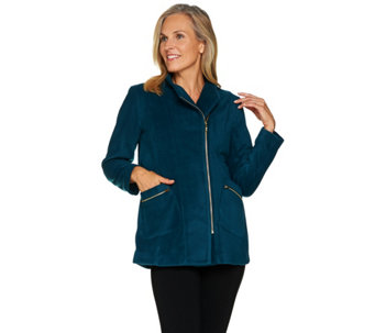 """As Is"" Bob Mackie's Fleece Jacket with Pockets and Zipper Detail - A293122"
