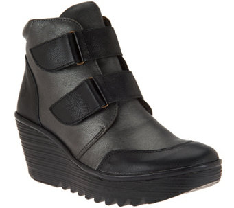 """As Is"" FLY London Leather Wedge Boots - Yugo - A293222"