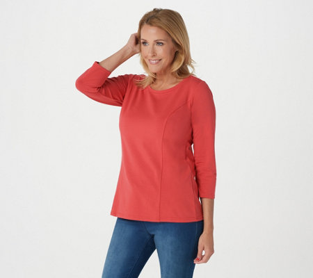 Bob Mackie's Scoop Neck 3/4 Sleeve Knit Top