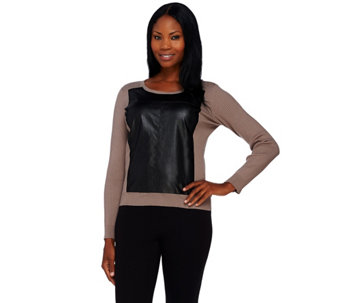 """As Is"" Styled by Joe Zee Sweater with Faux Leather Panel - A294122"