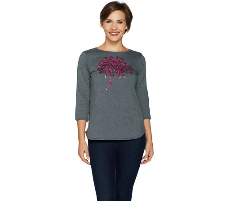 Bob Mackie's Sequin Floral Heathered T-Shirt