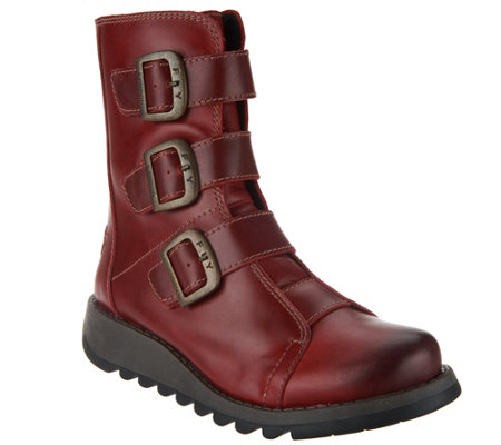 FLY London Leather Ankle Boots w/ Buckles - Scop