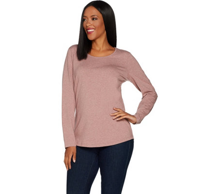 Denim & Co. Essentials Long Sleeve Heathered Top