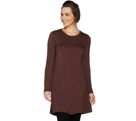 LOGO by Lori Goldstein Regular Jaspe Knit Tunic with Side Slits