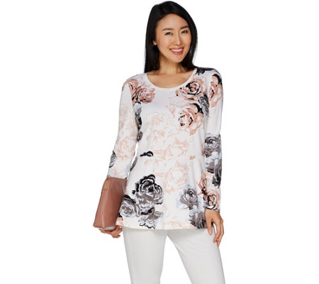 Studio by Denim & Co. Floral Print Peplum Round Neck Top