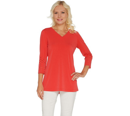 Susan Graver Liquid Knit Tunic with Laser Cut Detail