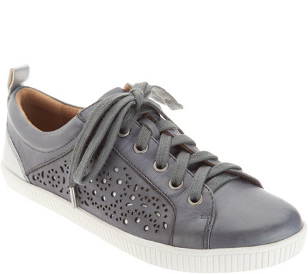 Earth Perforated Leather Lace-up Shoes - Tangor